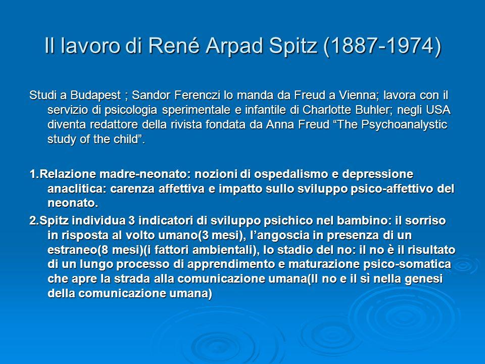 Il lavoro di René Arpad Spitz (1887-1974) Studi a Budapest ; Sandor Ferenczi lo manda da Freud a Vienna; lavora con il servizio di psicologia sperimentale e infantile di Charlotte Buhler; negli USA diventa redattore della rivista fondata da Anna Freud The Psychoanalystic study of the child.