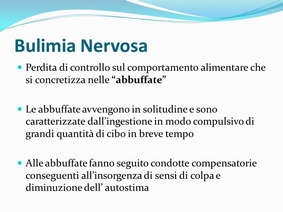 Bulimia Nervosa Perdita di controllo sul comportamento alimentare che si concretizza nelle abbuffate Le abbuffate avvengono in solitudine e sono carat