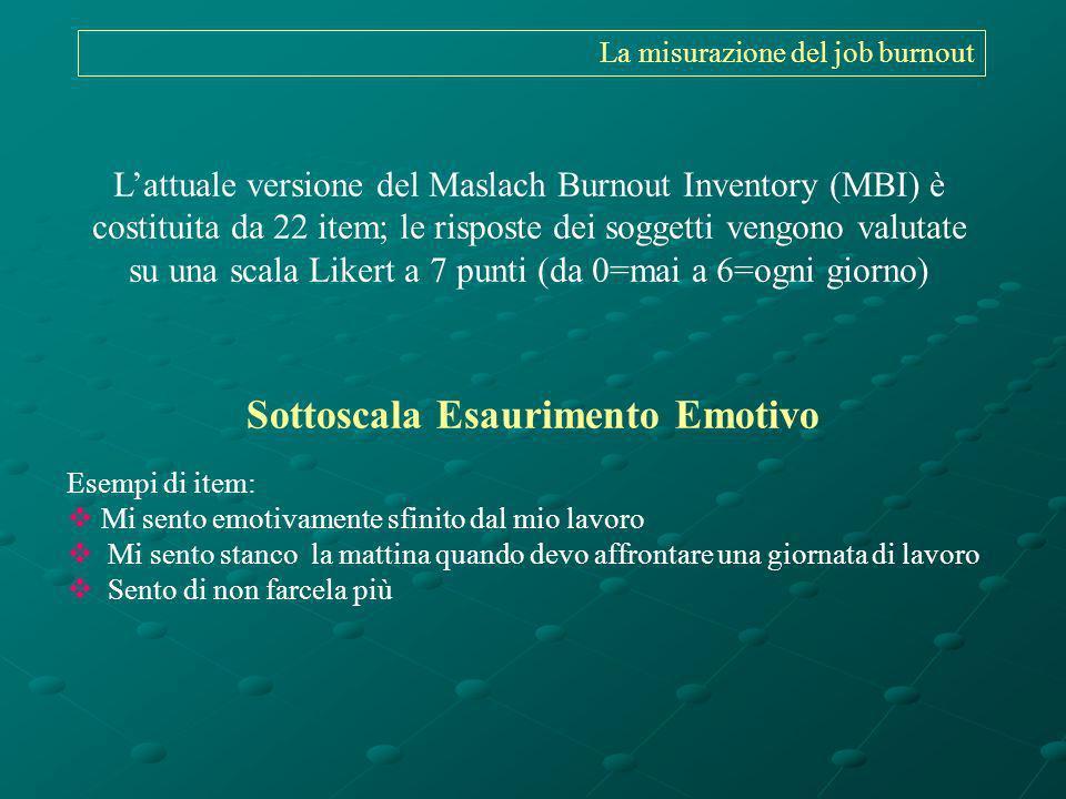 Lattuale versione del Maslach Burnout Inventory (MBI) è costituita da 22 item; le risposte dei soggetti vengono valutate su una scala Likert a 7 punti