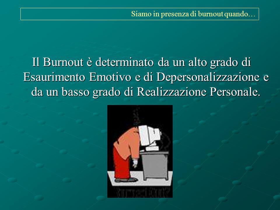 Siamo in presenza di burnout quando… Il Burnout è determinato da un alto grado di Esaurimento Emotivo e di Depersonalizzazione e da un basso grado di