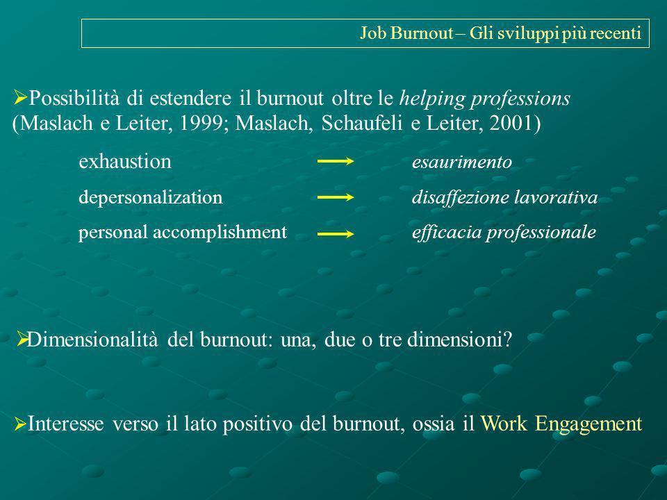 Job Burnout – Gli sviluppi più recenti Possibilità di estendere il burnout oltre le helping professions (Maslach e Leiter, 1999; Maslach, Schaufeli e