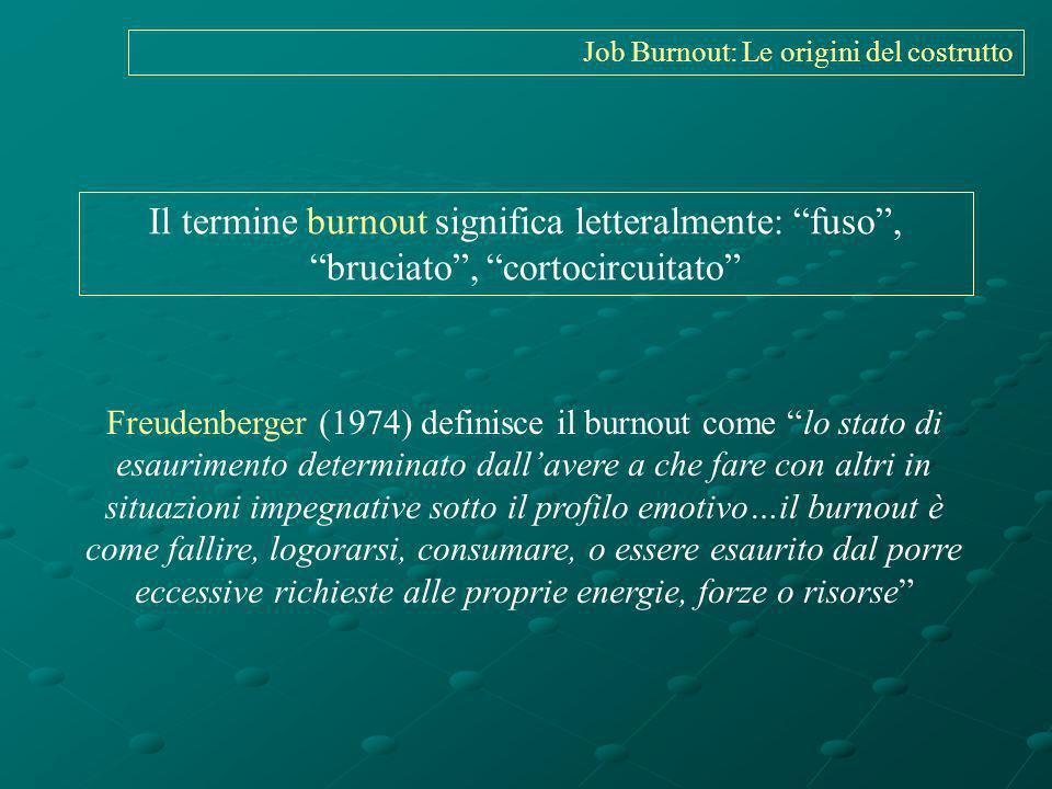 Il termine burnout significa letteralmente: fuso, bruciato, cortocircuitato Freudenberger (1974) definisce il burnout come lo stato di esaurimento det