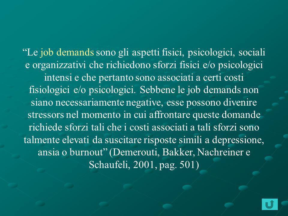 Le job demands sono gli aspetti fisici, psicologici, sociali e organizzativi che richiedono sforzi fisici e/o psicologici intensi e che pertanto sono
