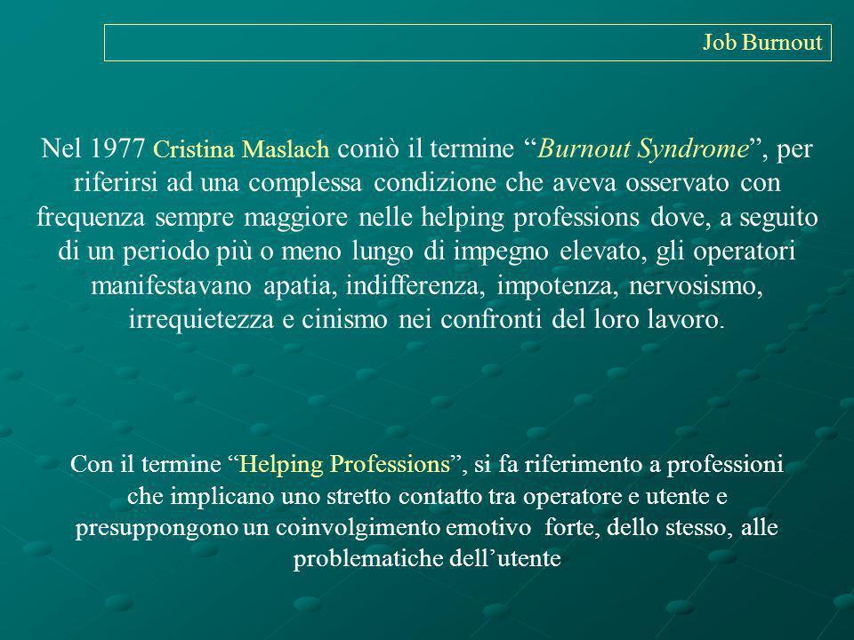 Nel 1977 Cristina Maslach coniò il termine Burnout Syndrome, per riferirsi ad una complessa condizione che aveva osservato con frequenza sempre maggio