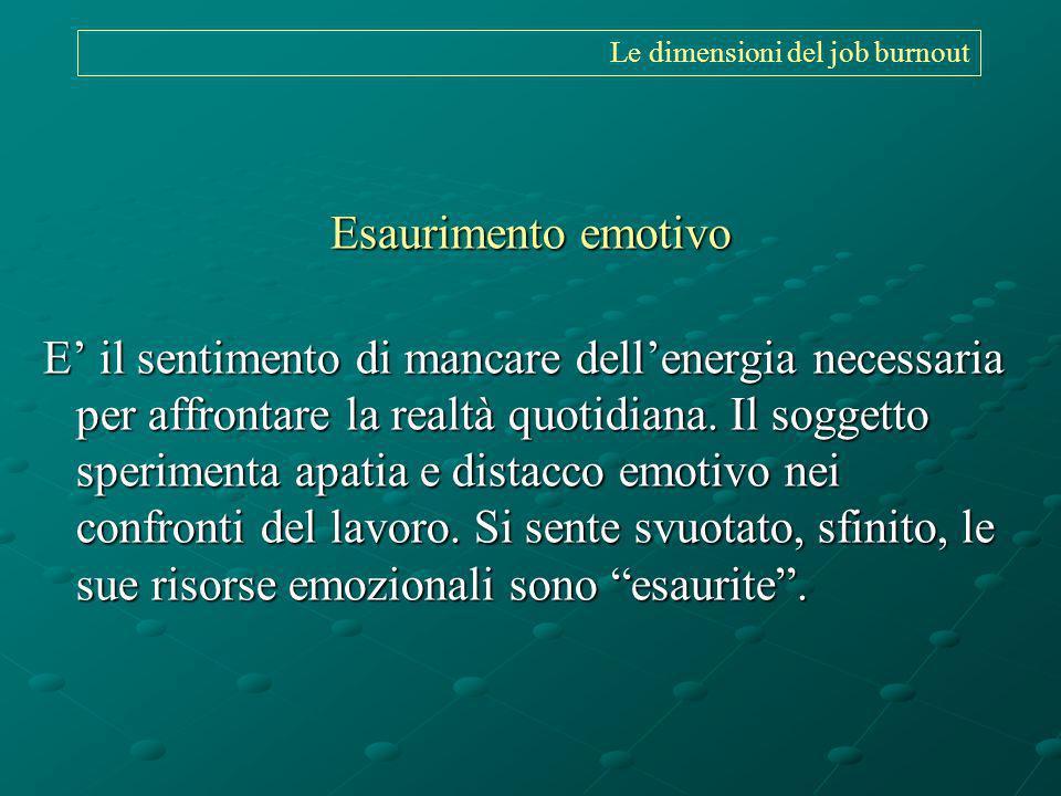 Le dimensioni del job burnout Esaurimento emotivo E il sentimento di mancare dellenergia necessaria per affrontare la realtà quotidiana. Il soggetto s
