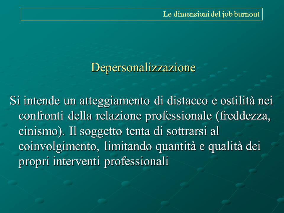 Le dimensioni del job burnout Depersonalizzazione Si intende un atteggiamento di distacco e ostilità nei confronti della relazione professionale (fred