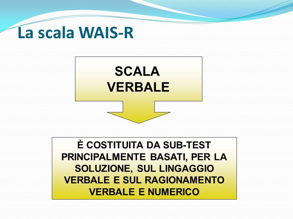 La scala WAIS-R SCALA VERBALE È COSTITUITA DA SUB-TEST PRINCIPALMENTE BASATI, PER LA SOLUZIONE, SUL LINGAGGIO VERBALE E SUL RAGIONAMENTO VERBALE E NUM