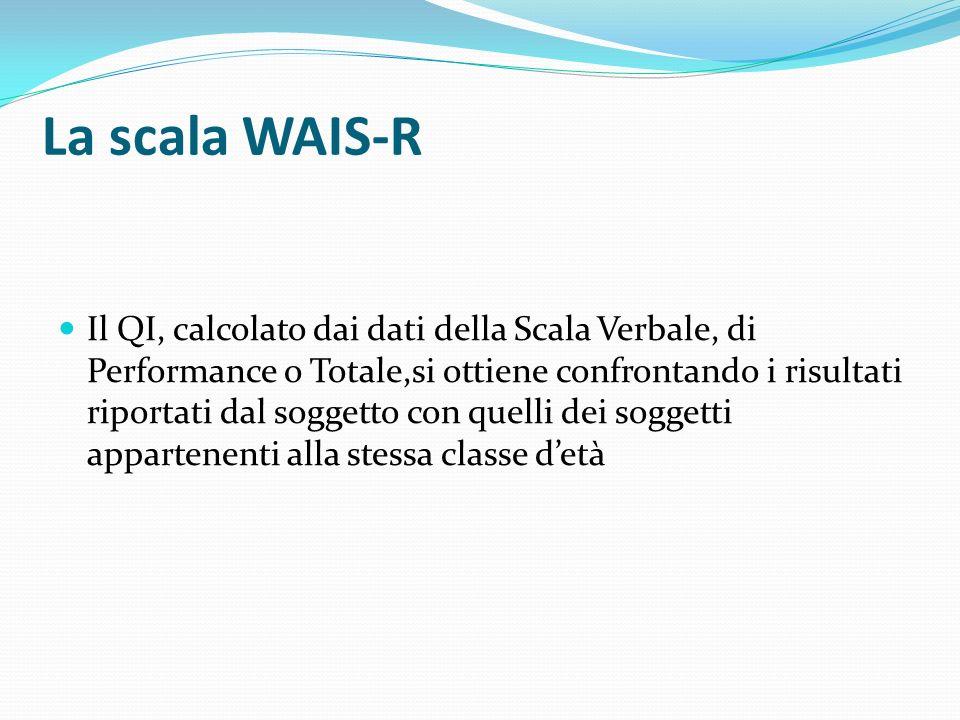 La scala WAIS-R Il QI, calcolato dai dati della Scala Verbale, di Performance o Totale,si ottiene confrontando i risultati riportati dal soggetto con