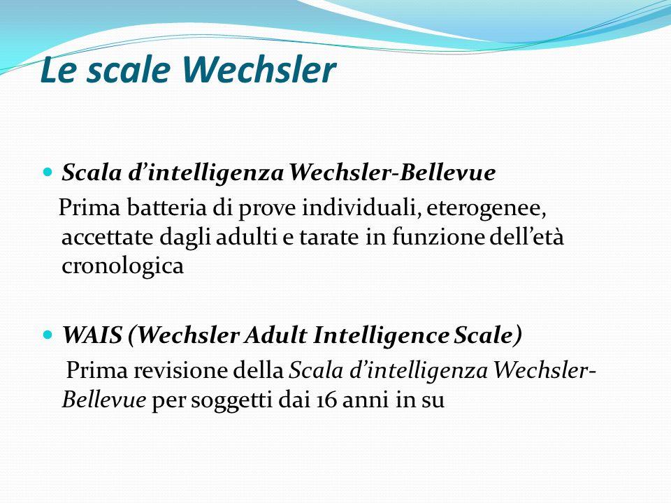 Le scale Wechsler Successive revisioni della WAIS: WAIS-R tradotta e tarata anche per la popolazione italiana WAIS-III e WAIS IV già pubblicate negli Stati Uniti ma non ancora disponibili per la popolazione italiana
