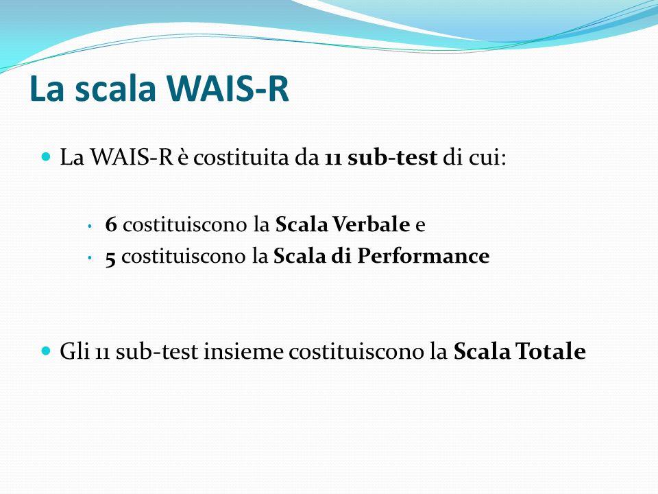 La scala WAIS-R La WAIS-R è costituita da 11 sub-test di cui: 6 costituiscono la Scala Verbale e 5 costituiscono la Scala di Performance Gli 11 sub-te