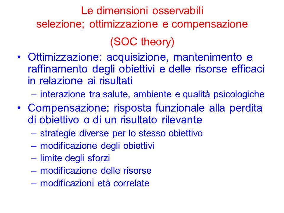 Le dimensioni osservabili selezione; ottimizzazione e compensazione (SOC theory) Ottimizzazione: acquisizione, mantenimento e raffinamento degli obiet