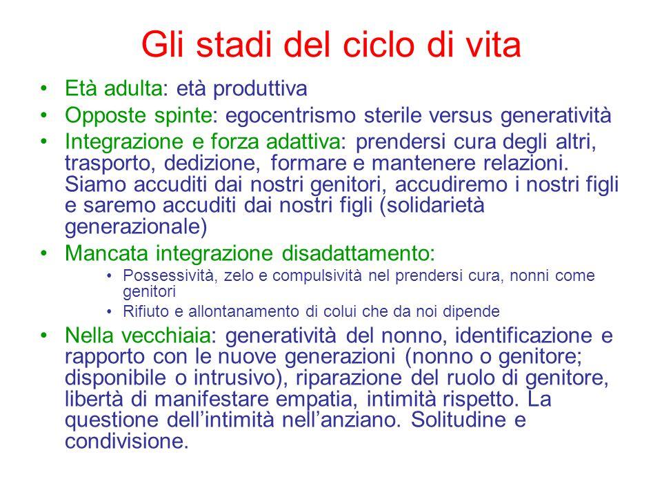 Gli stadi del ciclo di vita Età adulta: età produttiva Opposte spinte: egocentrismo sterile versus generatività Integrazione e forza adattiva: prender