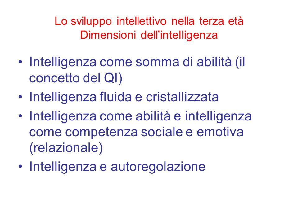 Lo sviluppo intellettivo nella terza età Dimensioni dellintelligenza Intelligenza come somma di abilità (il concetto del QI) Intelligenza fluida e cri