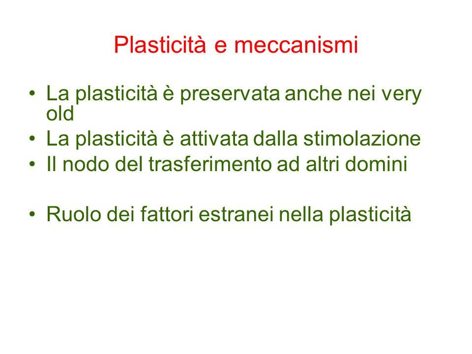 Plasticità e meccanismi La plasticità è preservata anche nei very old La plasticità è attivata dalla stimolazione Il nodo del trasferimento ad altri d