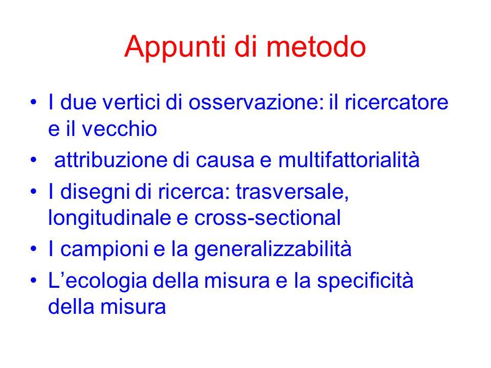 Appunti di metodo I due vertici di osservazione: il ricercatore e il vecchio attribuzione di causa e multifattorialità I disegni di ricerca: trasversa