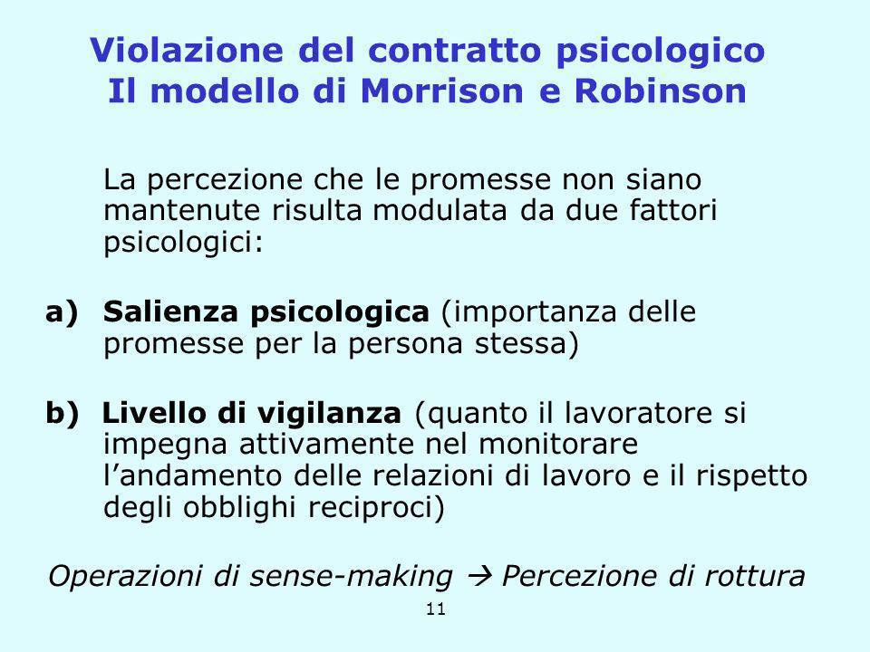 11 La percezione che le promesse non siano mantenute risulta modulata da due fattori psicologici: a)Salienza psicologica (importanza delle promesse pe