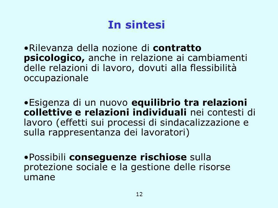 12 In sintesi Rilevanza della nozione di contratto psicologico, anche in relazione ai cambiamenti delle relazioni di lavoro, dovuti alla flessibilità