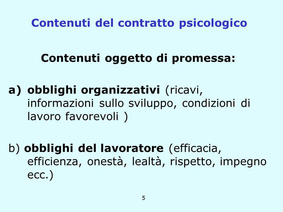 5 Contenuti oggetto di promessa: a)obblighi organizzativi (ricavi, informazioni sullo sviluppo, condizioni di lavoro favorevoli ) b) obblighi del lavo