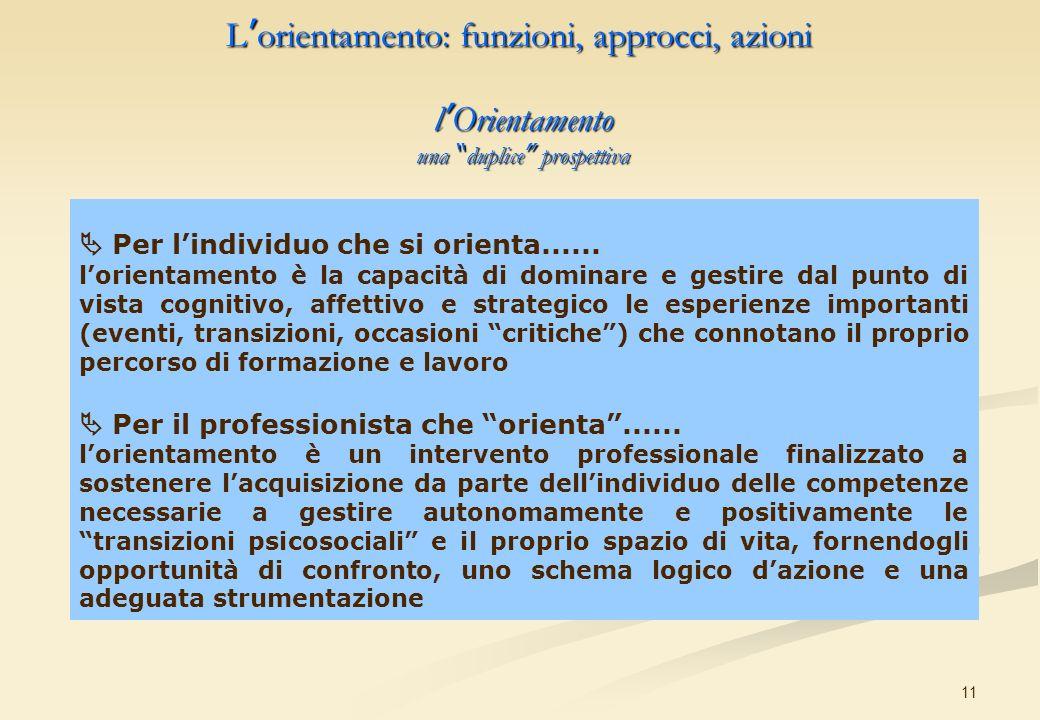 11 l Orientamento una duplice prospettiva Per lindividuo che si orienta...... lorientamento è la capacità di dominare e gestire dal punto di vista cog