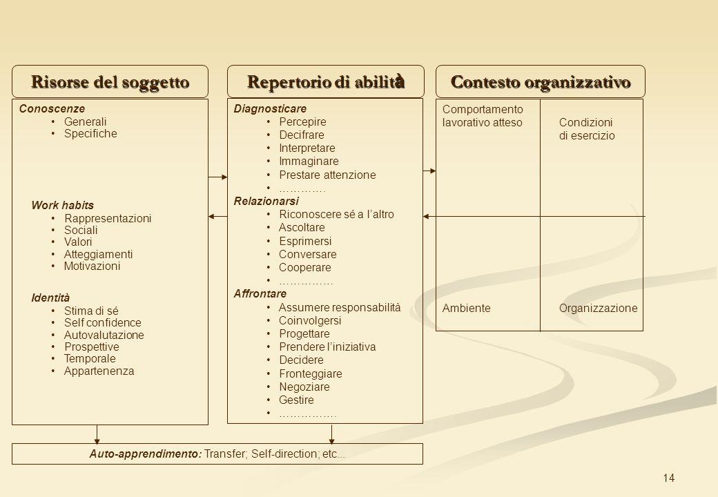 14 Risorse del soggetto Repertorio di abilit à Contesto organizzativo Conoscenze Generali Specifiche Work habits Rappresentazioni Sociali Valori Atteg