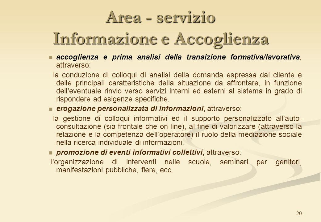20 Area - servizio Informazione e Accoglienza accoglienza e prima analisi della transizione formativa/lavorativa, attraverso: la conduzione di colloqu