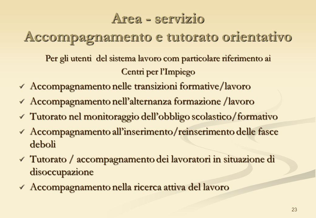 23 Area - servizio Accompagnamento e tutorato orientativo Per gli utenti del sistema lavoro com particolare riferimento ai Centri per lImpiego Accompa