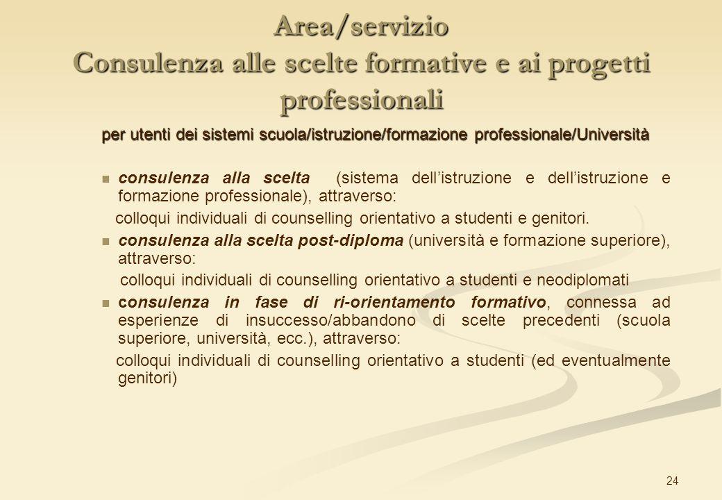 24 Area/servizio Consulenza alle scelte formative e ai progetti professionali per utenti dei sistemi scuola/istruzione/formazione professionale/Univer