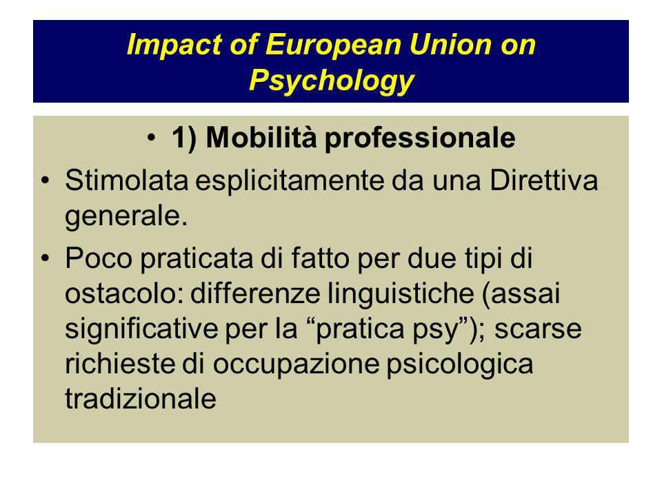 Impact of European Union on Psychology 1) Mobilità professionale Stimolata esplicitamente da una Direttiva generale.