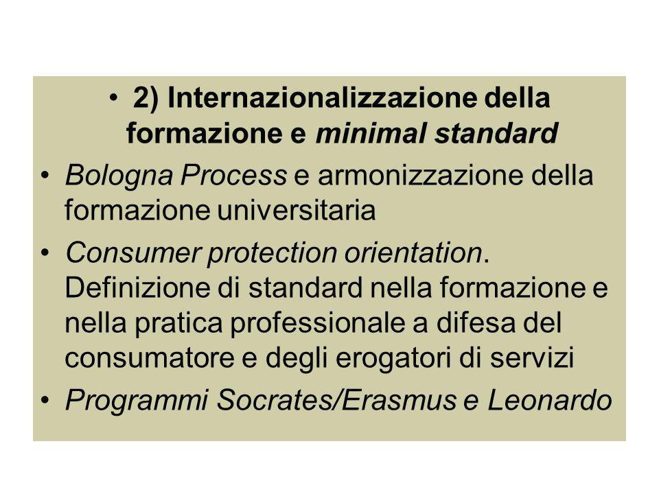 2) Internazionalizzazione della formazione e minimal standard Bologna Process e armonizzazione della formazione universitaria Consumer protection orientation.