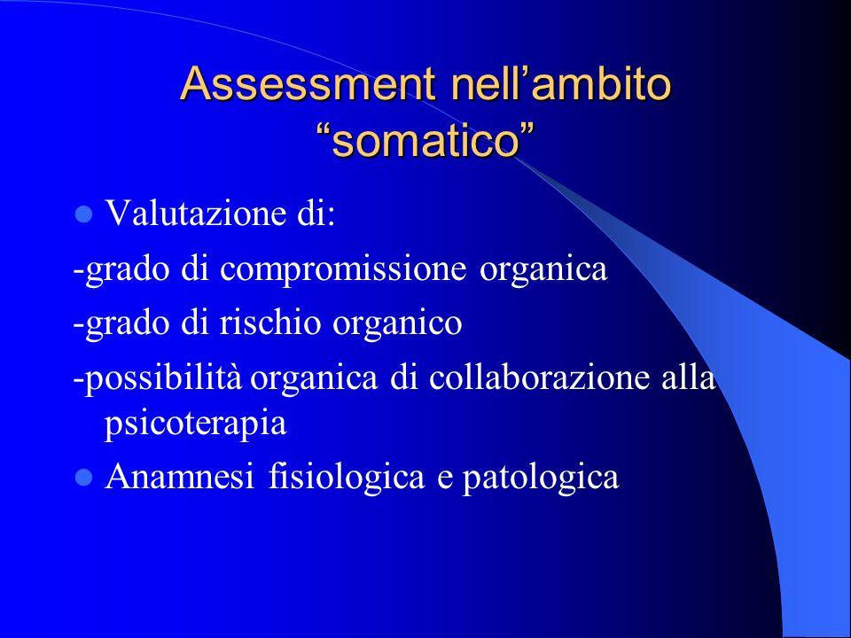 Assessment nellambito somatico Valutazione di: -grado di compromissione organica -grado di rischio organico -possibilità organica di collaborazione alla psicoterapia Anamnesi fisiologica e patologica