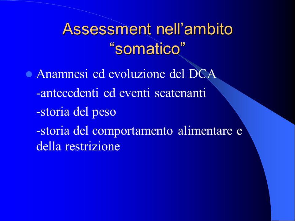 Assessment nellambito somatico Anamnesi ed evoluzione del DCA -antecedenti ed eventi scatenanti -storia del peso -storia del comportamento alimentare e della restrizione