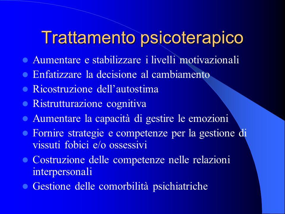 Trattamento psicoterapico Aumentare e stabilizzare i livelli motivazionali Enfatizzare la decisione al cambiamento Ricostruzione dellautostima Ristrutturazione cognitiva Aumentare la capacità di gestire le emozioni Fornire strategie e competenze per la gestione di vissuti fobici e/o ossessivi Costruzione delle competenze nelle relazioni interpersonali Gestione delle comorbilità psichiatriche