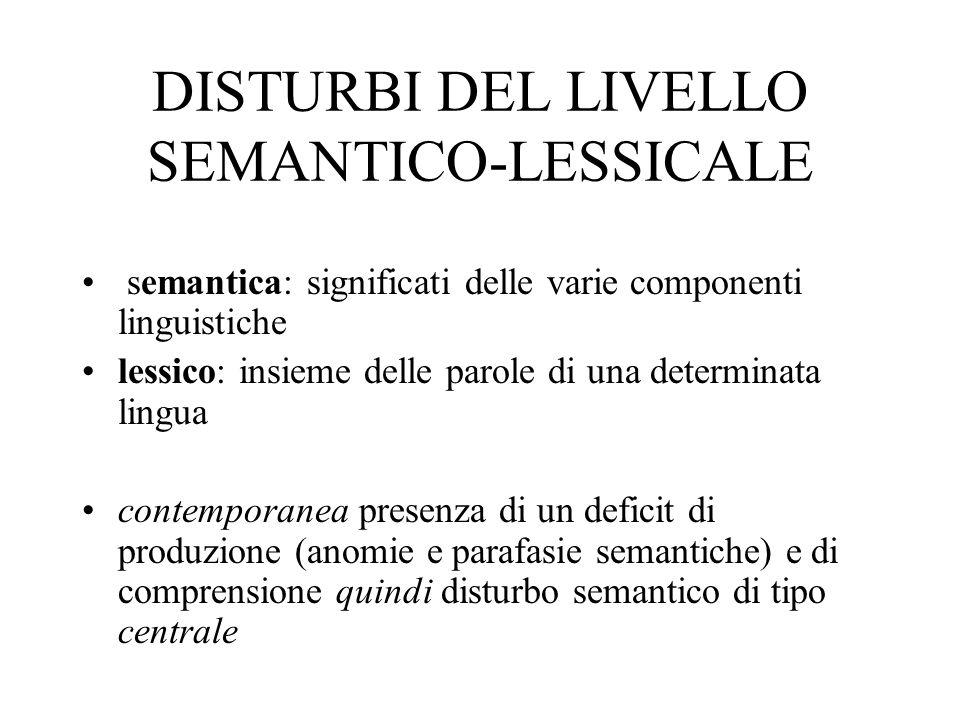 deficit di produzione: 1)deficit di denominazione (su via visiva, tattile, verbale) 2) anomie (incapacità di produrre le parole in un discorso) circonlocuzioni e parafasie semantiche fino al gergo semantico