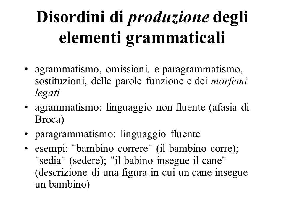 Disordini di comprensione degli elementi grammaticali Token Test o Test dei gettoni (De Renzi e Vignolo 1962) Heilman e coll.