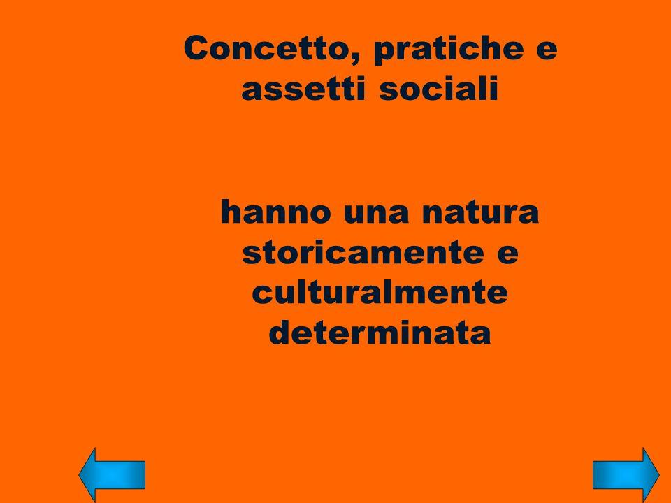 Concetto, pratiche e assetti sociali hanno una natura storicamente e culturalmente determinata