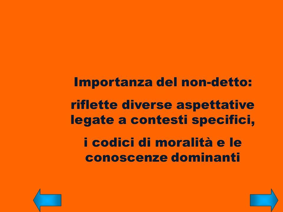 Importanza del non-detto: riflette diverse aspettative legate a contesti specifici, i codici di moralità e le conoscenze dominanti