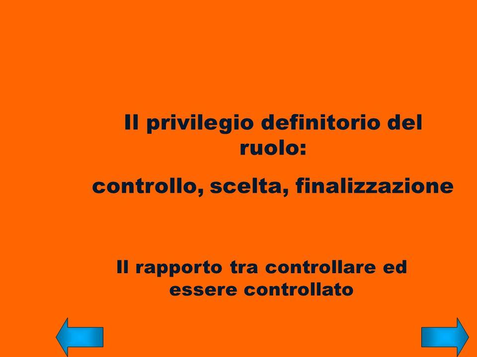 Il rapporto tra controllare ed essere controllato Il privilegio definitorio del ruolo: controllo, scelta, finalizzazione
