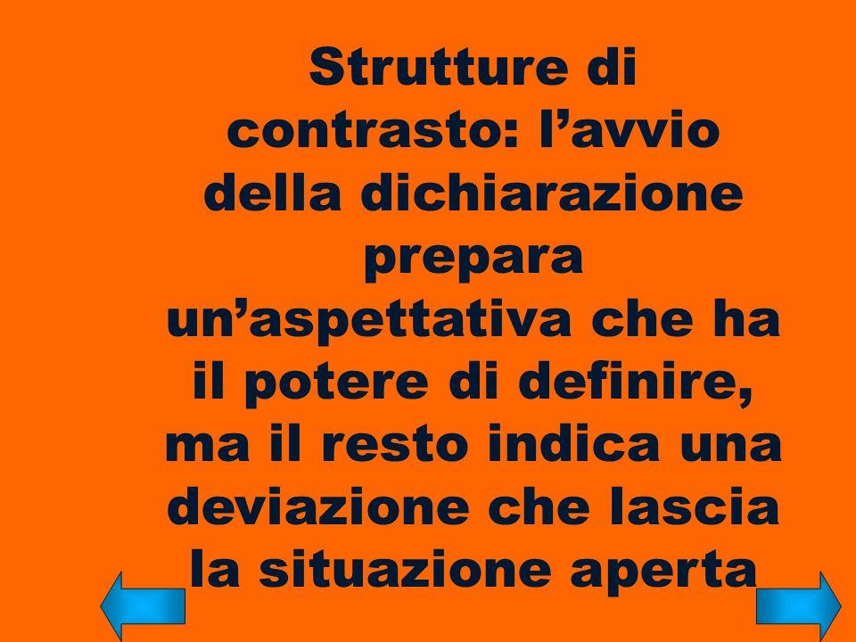 Strutture di contrasto: lavvio della dichiarazione prepara unaspettativa che ha il potere di definire, ma il resto indica una deviazione che lascia la