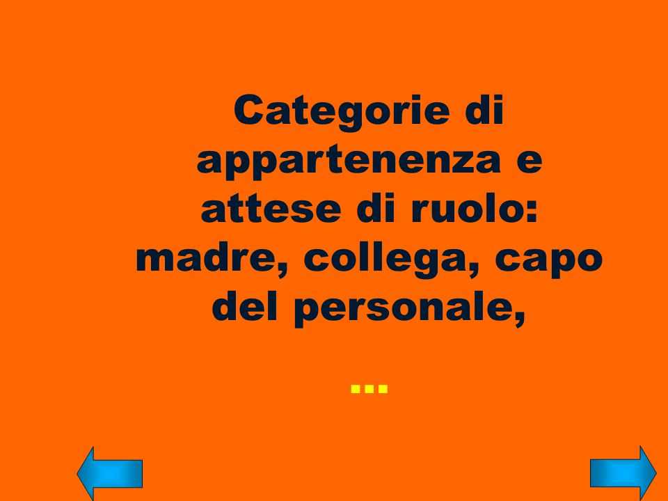 Categorie di appartenenza e attese di ruolo: madre, collega, capo del personale, …