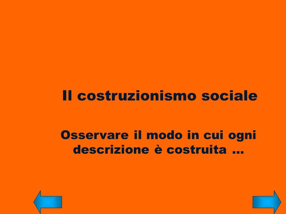 Il costruzionismo sociale Osservare il modo in cui ogni descrizione è costruita …