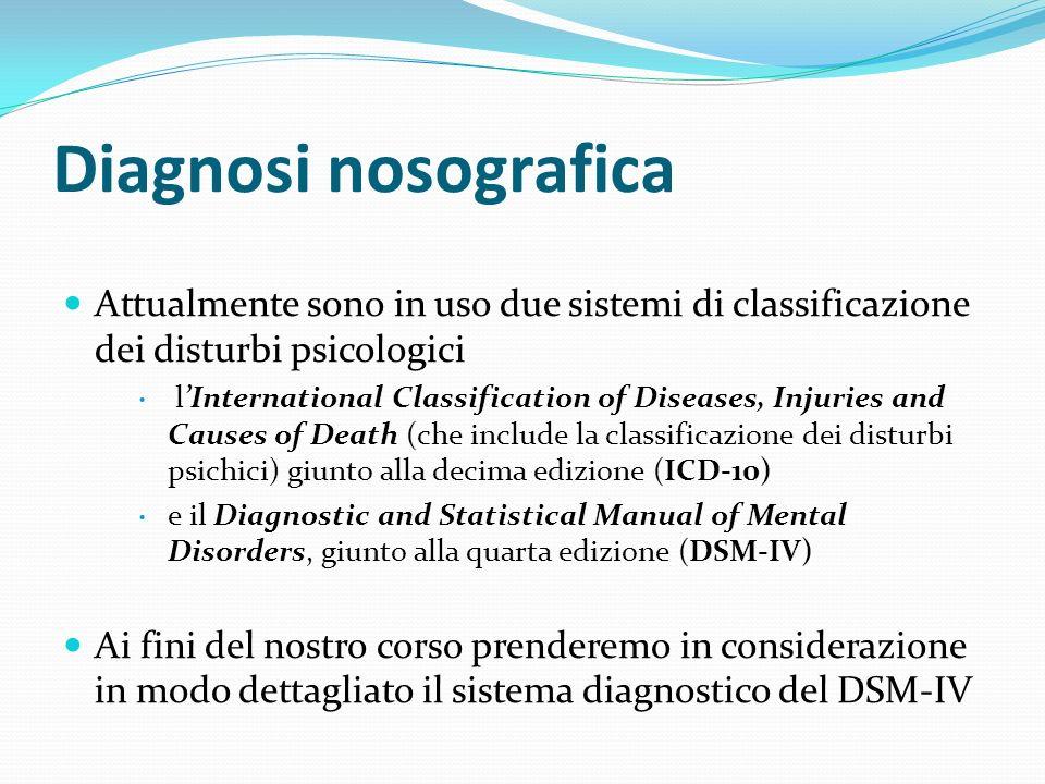 Diagnosi nosografica Attualmente sono in uso due sistemi di classificazione dei disturbi psicologici lInternational Classification of Diseases, Injuri
