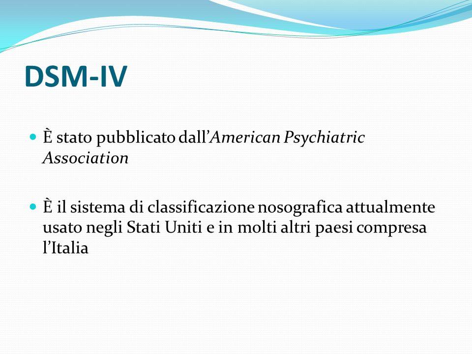 DSM-IV È stato pubblicato dallAmerican Psychiatric Association È il sistema di classificazione nosografica attualmente usato negli Stati Uniti e in mo