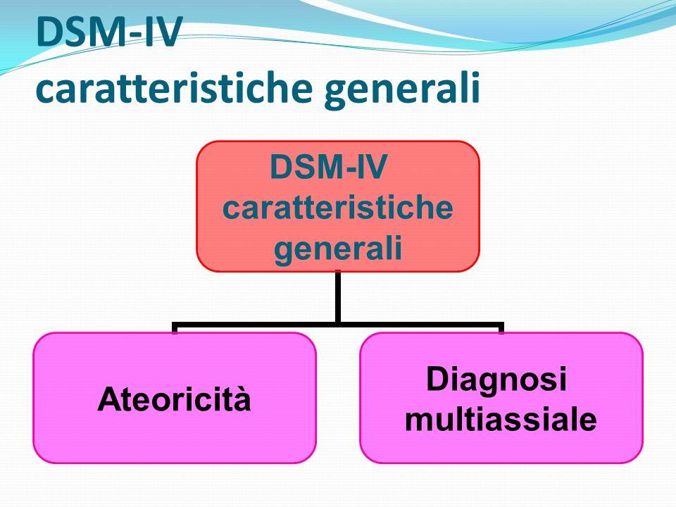 DSM-IV caratteristiche generali DSM-IV caratteristiche generali Ateoricità Diagnosi multiassiale