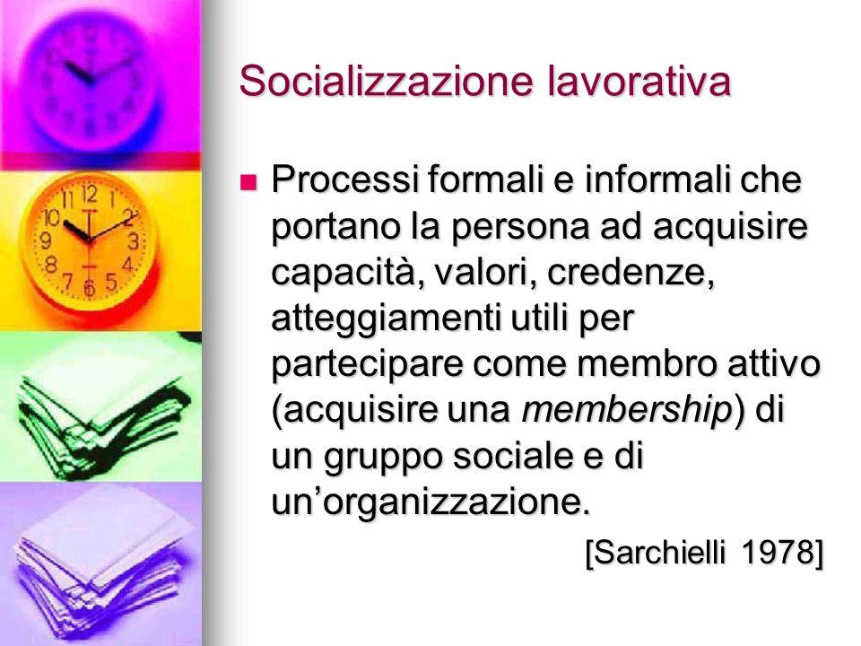 Socializzazione lavorativa Processi formali e informali che portano la persona ad acquisire capacità, valori, credenze, atteggiamenti utili per partec
