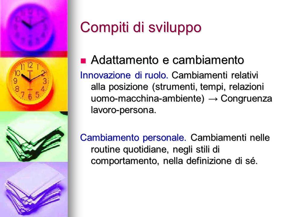 Compiti di sviluppo Adattamento e cambiamento Adattamento e cambiamento Innovazione di ruolo. Cambiamenti relativi alla posizione (strumenti, tempi, r
