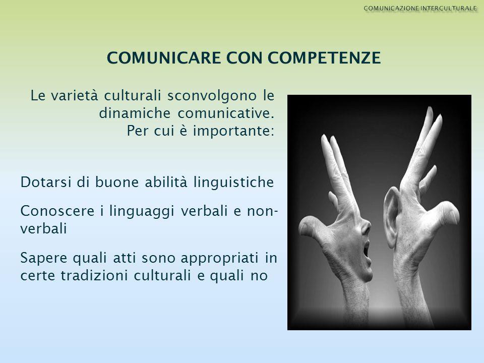 Le varietà culturali sconvolgono le dinamiche comunicative. Per cui è importante: Dotarsi di buone abilità linguistiche Conoscere i linguaggi verbali