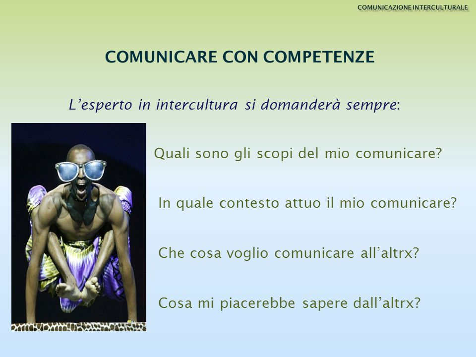 Quali sono gli scopi del mio comunicare? In quale contesto attuo il mio comunicare? Che cosa voglio comunicare allaltrx? Cosa mi piacerebbe sapere dal