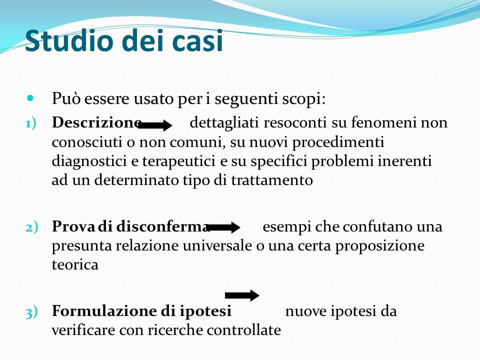 Studio dei casi Può essere usato per i seguenti scopi: 1) Descrizione dettagliati resoconti su fenomeni non conosciuti o non comuni, su nuovi procedim