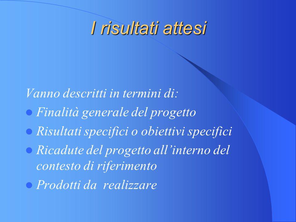 I risultati attesi Vanno descritti in termini di: Finalità generale del progetto Risultati specifici o obiettivi specifici Ricadute del progetto allinterno del contesto di riferimento Prodotti da realizzare