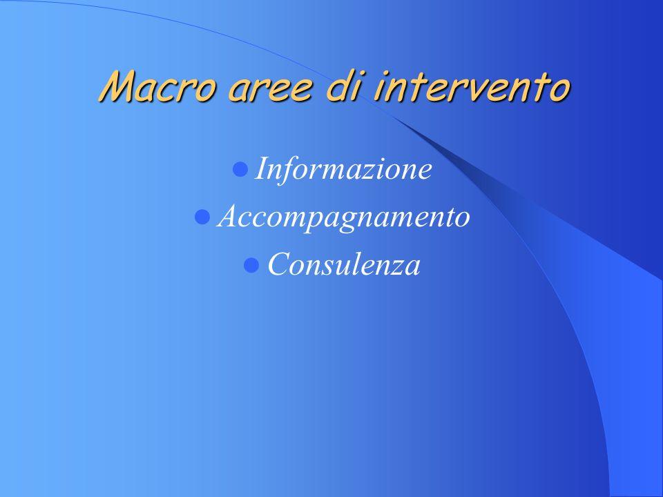 Macro aree di intervento Informazione Accompagnamento Consulenza